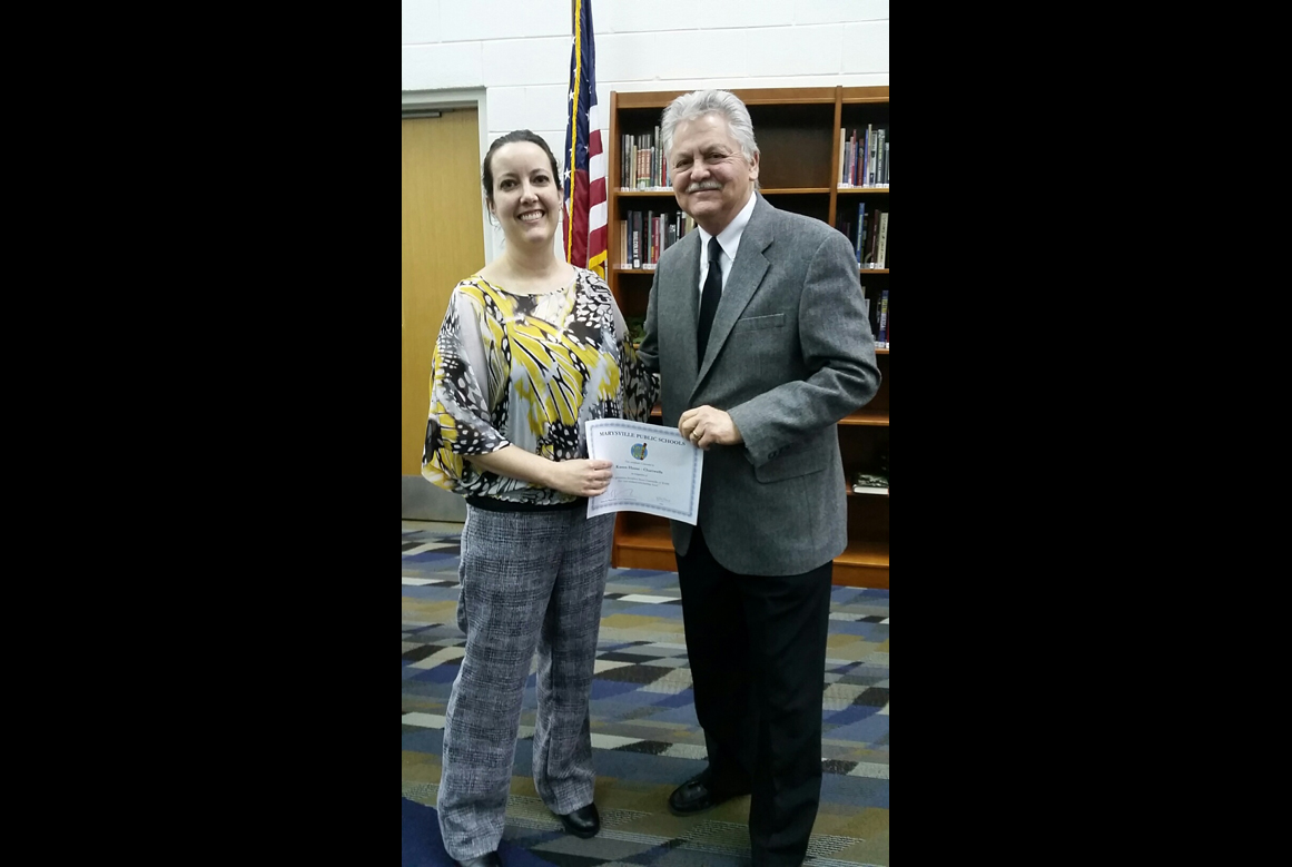 Pam Heintz (Chartwells) recieves recognition from Superintendent