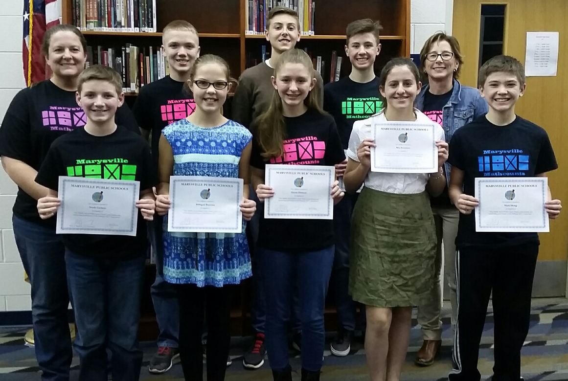 Middle School Math Counts team receives certificates