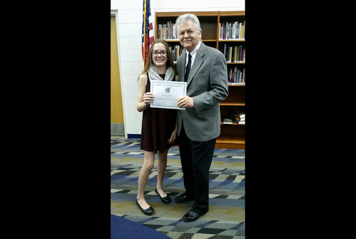 MS Student, Mackenzie Wassmus, receives certificate from Superintendent