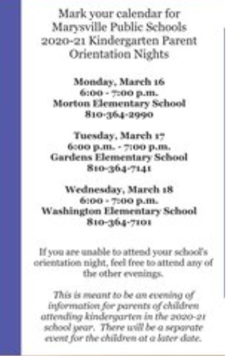 Kg Parent information night dates and times